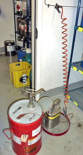 Also ground any conductive surfaces in contact with the container including the bulk vessel. Always transfer the liquid slowly as splashing and sloshing ... & Flammable Liquids - Safety Library | Division of Research Safety ...